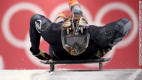 Akwasi Frimpong of Ghana practices during Men's Skeleton training.