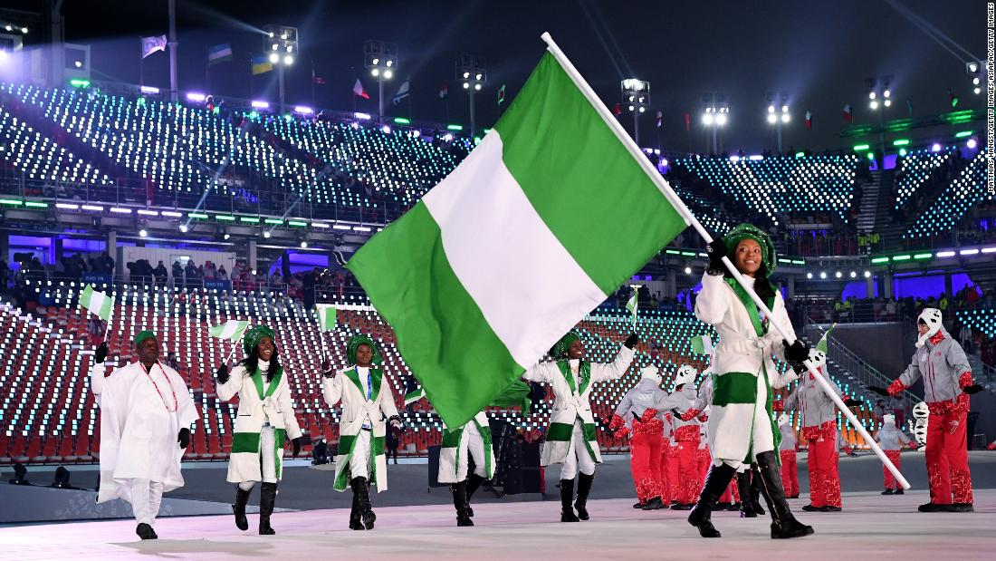 Flag bearer Ngozi Onwumere and teammates enter the stadium during the Opening Ceremony of the PyeongChang 2018 Winter Olympic Games.