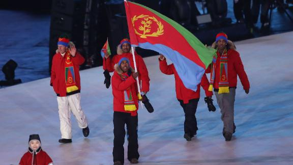 Eritrean flag bearer, Canada-born Shannon-Ogbnai Abeda, is the country's sole athlete and is competing in Alpine skiing.