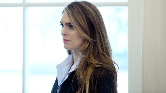 WASHINGTON, D.C. - FEBRUARY 9: (AFP-OUT) White House communications director Hope Hicks looks on during a meeting between President Trump and Don Bouvet, who has been battling cancer in the Oval Office of the White House, February 9, 2018 in Washington, DC. (Photo by Olivier Douliery-Pool/Getty Images)