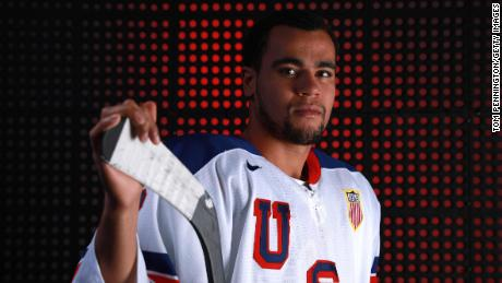 Ice Hockey player Jordan Greenway poses for a portrait during the Team USA Media Summit ahead of the PyeongChang 2018 Olympic Winter Games on September 25, 2017 in Park City, Utah.