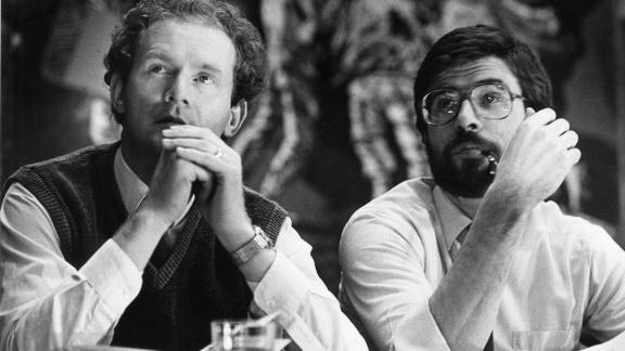 Martin McGuinness (L) and Gerry Adams in 1985.