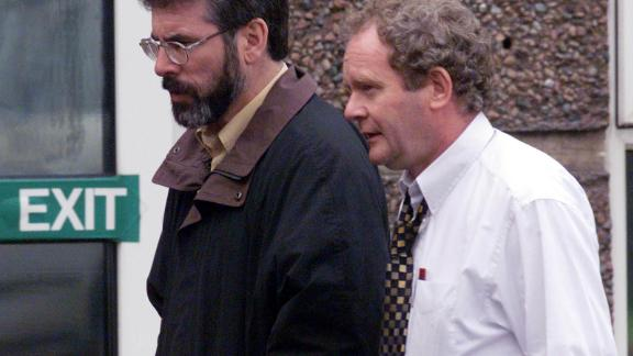 Gerry Adams (L) and Martin McGuinness at talks on the implementation of the Good Friday Agreement.