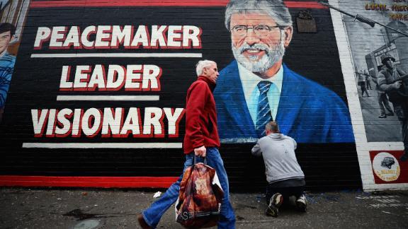 A mural of Gerry Adams seen on Belfast's Falls Road in 2014.