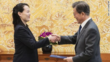 "South Korean President Moon Jae-in, right, shakes hands with Kim Yo Jong, North Korean leader Kim Jong Un's sister, after receiving a letter at the presidential house in Seoul, South Korea, Saturday, Feb. 10, 2018. A rare invitation to Pyongyang for the South Korean president marked Day Two of the North Korean Kim dynasty's southern road tour Saturday, part of an accelerated diplomatic warming that included more handshakes, some Korean liquor over lunch and the potential shared joy of watching a ""unified"" Korea team play hockey at the Olympics."