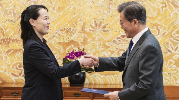 South Korean President Moon Jae-in greets Kim Yo Jong, sister of North Korean leader Kim Jong Un, during a historic meeting between North and South Korean officials at the presidential palace in Seoul. The South Korean leader received an invitation from Kim's sister to travel to North Korea.