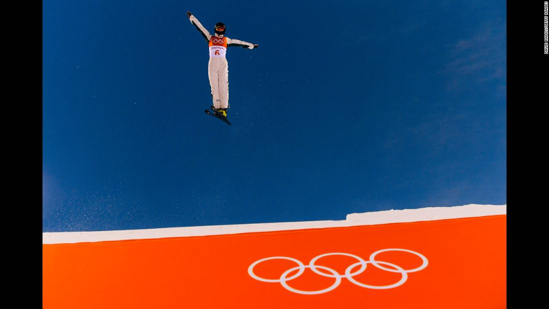 Danielle Scott of Australia practices during freestyle skiing aerials.