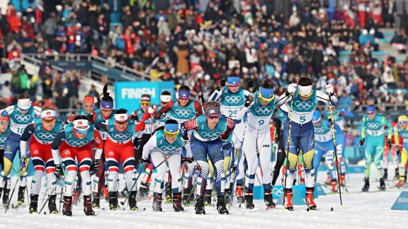 Competitors start the cross-country women's skiathlon at the Alpensia Cross-Country Skiing Centre.