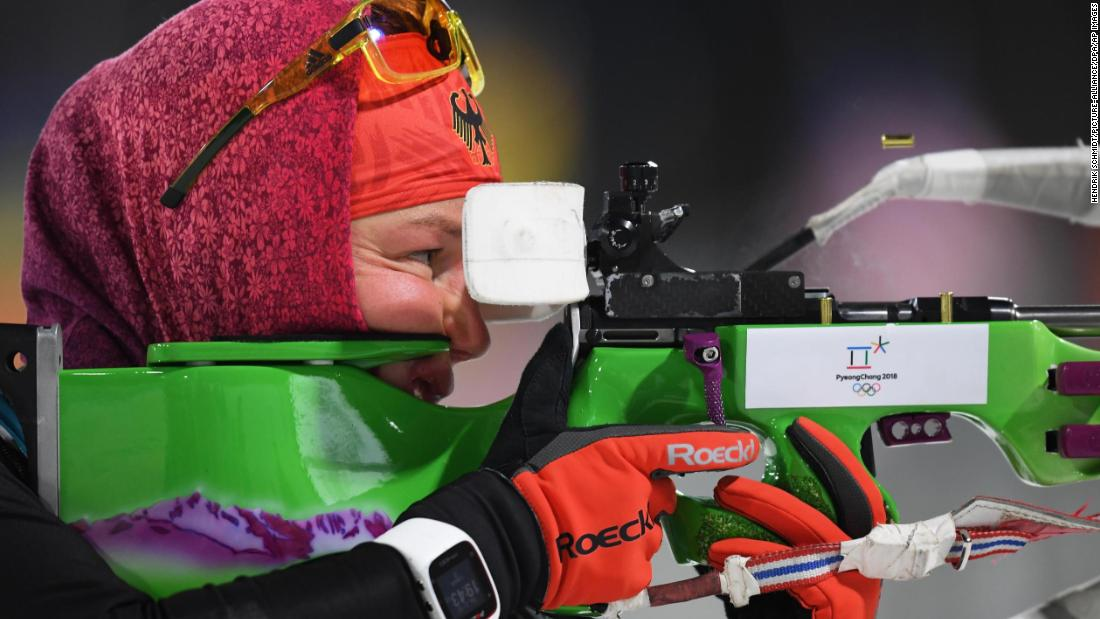 Germany's Laura Dahlmeier prepares for competition in the women's biathlon 7.5-kilometer sprint.
