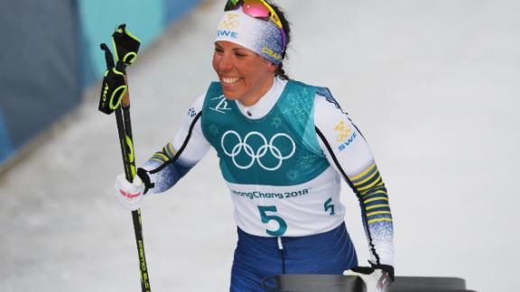 Sweden's Charlotte Kalla has now won three golds at the Winter Olympics.