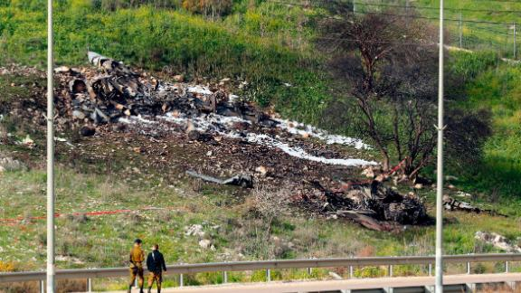 A picture taken in  northern Israel on Saturday shows the remains of the crashed Israeli F-16.