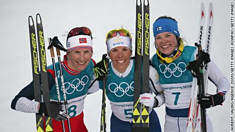 Norway's Marit Bjørge (left) won silver and Krista Parmakoski of Finland took bronze.
