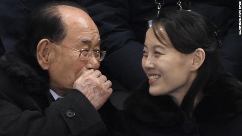 North Korean leader Kim Jong Un's sister, Kim Yo Jong, and North Korea's ceremonial head of state, Kim Yong Nam, attend the hockey match on Saturday, February 10, 2018, between Switzerland and the unified Korean team.