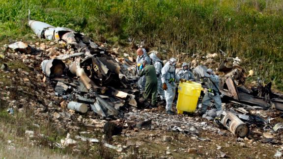 "A picture taken in the northern Israeli Kibbutz of Harduf on February 10, 2018, shows the remains of an Israel F-16 that crashed after coming under fire by Syrian air defences during attacks against ""Iranian targets"" in the war-torn country. / AFP PHOTO / Jack GUEZ        (Photo credit should read JACK GUEZ/AFP/Getty Images)"