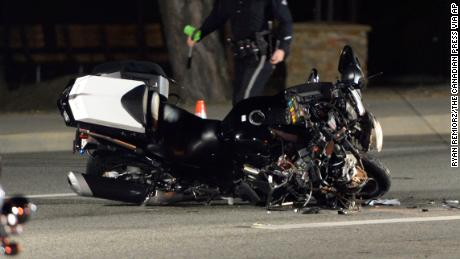 A damaged motorcycle from a crash involving motorcycle officers accompanying Canadian Prime Minister Justin Trudeau on his visit to Southern California.