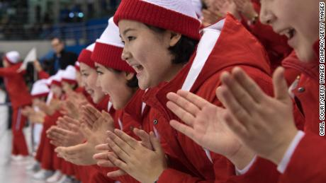 North Korean cheerleaders were in full choreographed clapping mode against Switzerland.