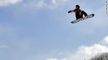 Max Parrot, of Canada, jumps during the men's slopestyle final at Phoenix Snow Park at the 2018 Winter Olympics in Pyeongchang, South Korea, Sunday, Feb. 11, 2018. (AP Photo/Kin Cheung)