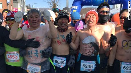 South Koreans take part in the 26th Annual Naked Marathon in PyeongChang. 5 and 10 k races were held on Saturday and Sunday. An organizer says they do it because Pyeongchang is the coldest place in South Korea. To qualify for a medal, You have to run shirtless. This year around 1800 runners participated.