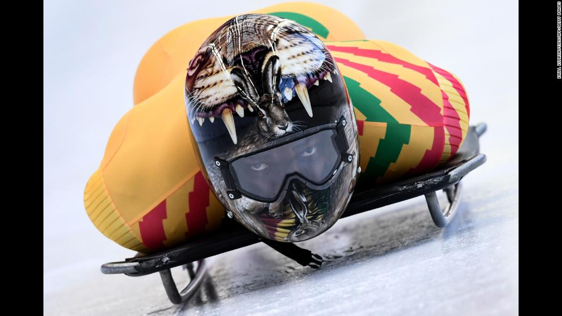 Ghana's Akwasi Frimpong takes part in a training session for the men's skeleton event.