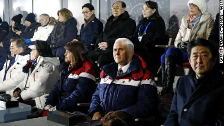 Vice President Mike Pence, second from bottom right, sits between second lady Karen Pence, third from from bottom left, and Japanese Prime Minister Shinzo Abe at the opening ceremony, behind Pence are Kim Yong Nam, third from top right, president of the Presidium of North Korean Parliament, and Kim Yo Jong, second from top right, sister of North Korean leader Kim Jong Un at  the PyeongChang 2018 Winter Olympic Games at PyeongChang Olympic Stadium.
