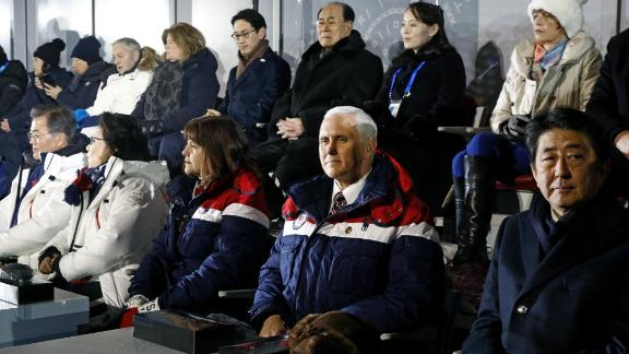 Vice President Mike Pence sits between second lady Karen Pence and Japanese Prime Minister Shinzo Abe at the opening ceremony. Behind Pence are Kim Yong Nam, president of the Presidium of North Korean Parliament, and Kim Yo Jong, sister of North Korean leader Kim Jong Un.