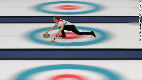 GANGNEUNG, NULL - FEBRUARY 11:  Magnus Nedregotten and Kristin Skaslien (out of frame) of Norway in action against Dexin Ba and Rui Wang of China during the Curling Mixed Doubles Tie-breaker on day two of the PyeongChang 2018 Winter Olympic Games at Gangneung Curling Centre on February 11, 2018 in Gangneung, South Korea.  during the Curling **** on day two of the PyeongChang 2018 Winter Olympic Games at Gangneung Curling Centre on February 11, 2018 in Gangneung, South Korea.  (Photo by Richard Heathcote/Getty Images)