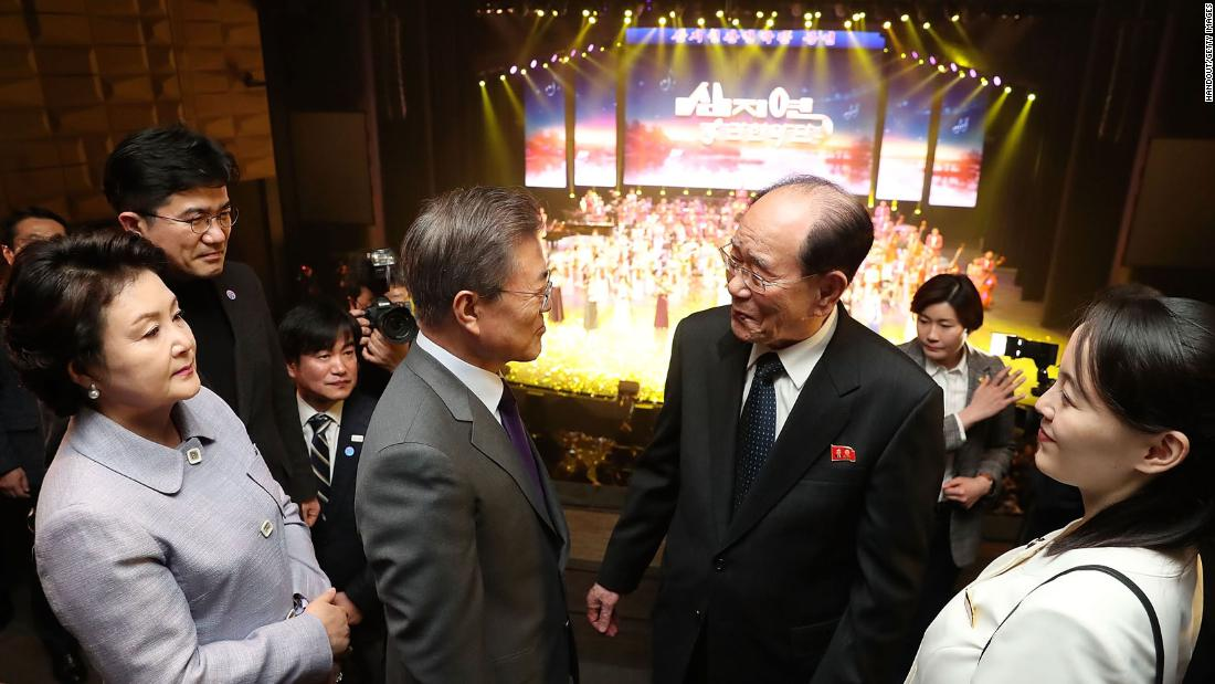 In this handout image provided by the South Korean Presidential Blue House, South Korean President Moon Jae-in, second left, talks with North Korea's nominal head of state Kim Yong Nam, second right, during a performance of North Korea's Samjiyon Orchestra at the National Theater in Seoul. To the left of Kim Yong Nam is Kim Yo Jong, North Korean leader Kim Jong Un's sister.
