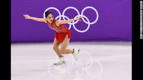 USA's Mirai Nagasu competes in the figure skating team event women's single skating free skating during the Pyeongchang 2018 Winter Olympic Games at the Gangneung Ice Arena in Gangneung on February 12, 2018. / AFP PHOTO / ARIS MESSINIS        (Photo credit should read ARIS MESSINIS/AFP/Getty Images)