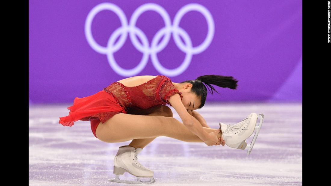 Japan's Kaori Sakamoto performs her free-skate routine during the team figure-skating event.