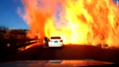 CHINA: TRUCK BURSTS INTO FLAMES AFTER OVERTURNING - A truck loaded with liquefied natural gas overturned on an expressway in China and burst into flames.