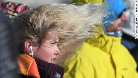 Norway's Silje Norendal's hair blows in the strong wind during the women's snowboard slopestyle final event at the Phoenix Park during the Pyeongchang 2018 Winter Olympic Games on February 12, 2018 in Pyeongchang.  / AFP PHOTO / LOIC VENANCE        (Photo credit should read LOIC VENANCE/AFP/Getty Images)