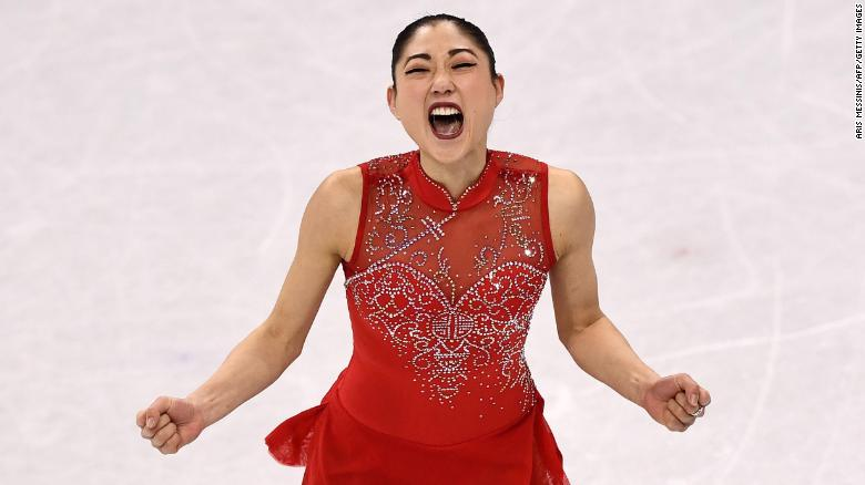 US athlete Mirai Nagasu competes in the figure skating team event during the Pyeongchang Winter Games at the Gangneung Ice Arena.