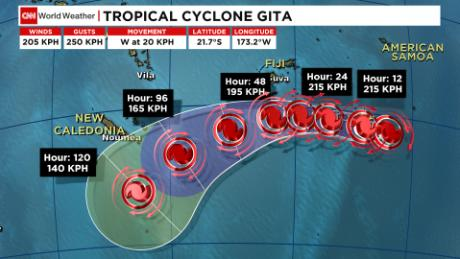 Tropical Cyclone Gita is heading towards Fiji and is expected to turn southwest and weaken.