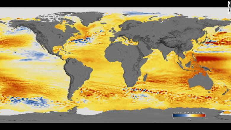 Satellite observations show sea levels rising, and climate change is accelerating it