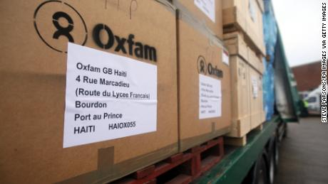 Oxfam loads up tons of aid and equipment to be flown to Haiti following the 2010 earthquake.