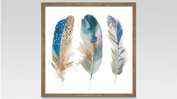 """<strong>Framed Watercolor Feathers ($18.99; </strong><a href=""""https://www.target.com/p/framed-watercolor-feathers-16-x16-threshold-153/-/A-51011695"""" target=""""_blank"""" target=""""_blank""""><strong>target.com</strong></a><strong>) </strong>"""