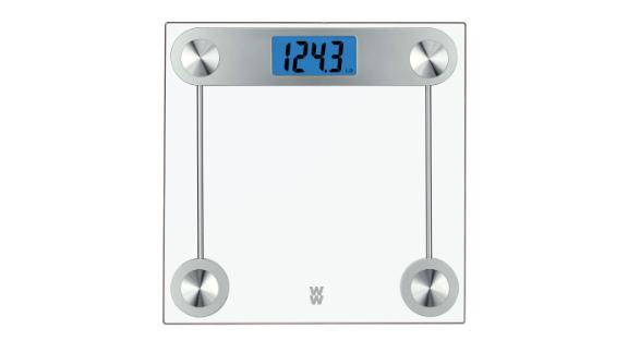 """<strong>Weight Watchers 24 TR Clear Glass Scale ($23.74; </strong><a href=""""https://www.target.com/p/weight-watchers-24-tr-clear-glass-scale-conair/-/A-16729576"""" target=""""_blank"""" target=""""_blank""""><strong>target.com</strong></a><strong>) </strong>"""