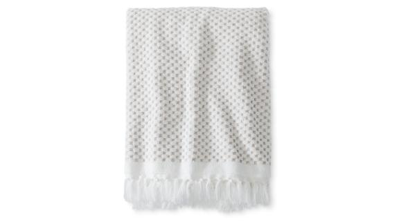 """<strong>Threshold Knotted Fringe Bath Towels ($12.34; </strong><a href=""""https://www.target.com/p/knotted-fringe-bath-towels-white-threshold-153/-/A-52444698#lnk=sametab"""" target=""""_blank"""" target=""""_blank""""><strong>target.com</strong></a><strong>)  </strong>"""