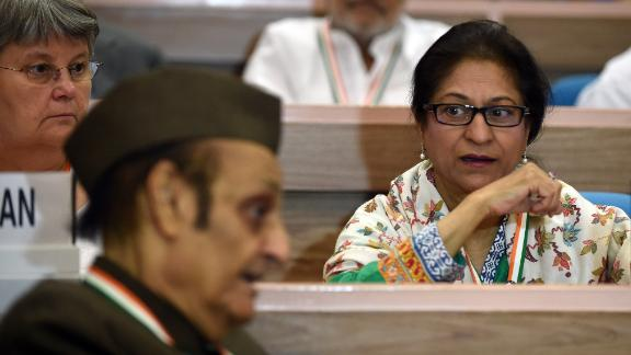 Lawyer and Human Right Activist from Pakistan Asma Jahangir (R) during an international conference in New Delhi on November 17, 2014.