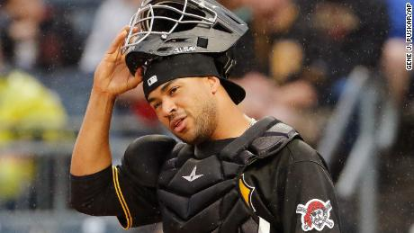Pittsburgh Pirates catcher Elias Diaz plays in a baseball game against the Cincinnati Reds in Pittsburgh, Saturday, Sept. 2, 2017. (AP Photo/Gene J. Puskar)