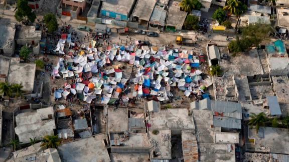 Earthquake survivors put up tents throughout the Haitian capital.