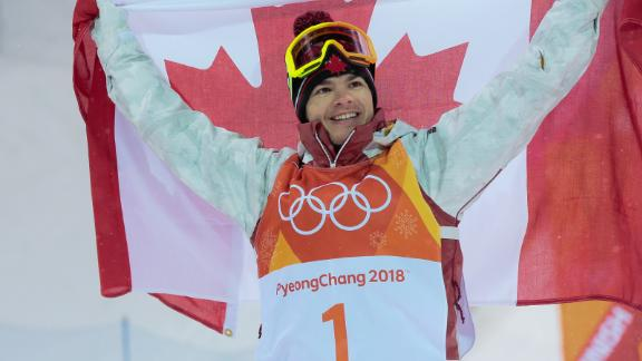 PYEONGCHANG-GUN, SOUTH KOREA - FEBRUARY 12: Mikael Kingsbury of Canada takes 1st place during the Freestyle Skiing Men