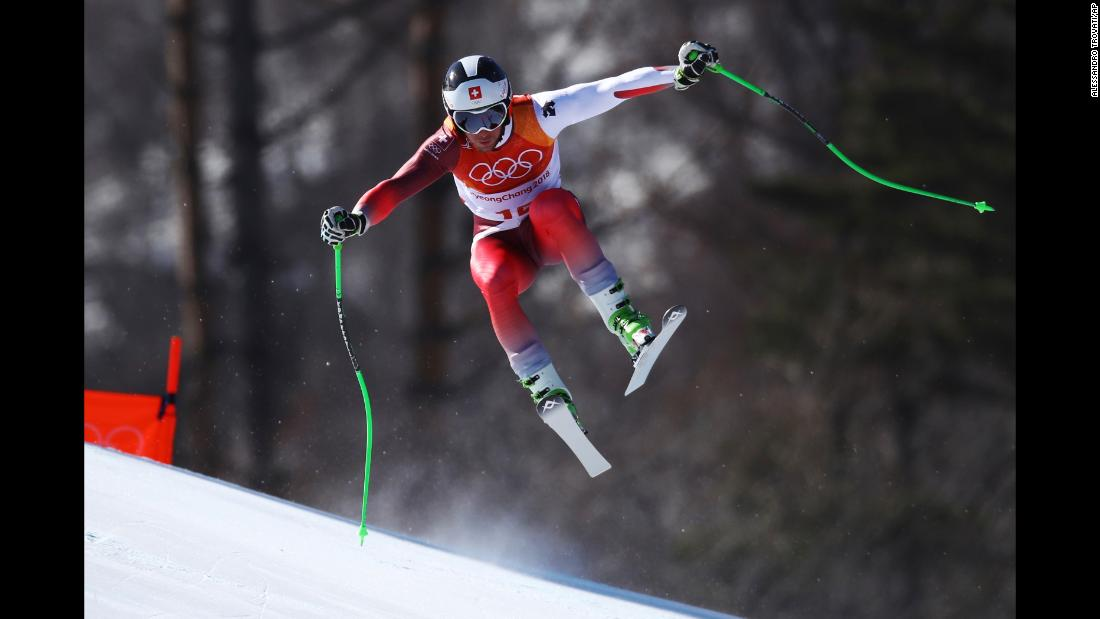 Switzerland's Justin Murisier skis the downhill portion of the men's combined.