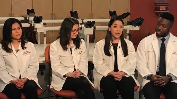 DACA students at Harvard Medical School, from left: Blanca Morales; Dalia Larios; Alma Oñate and Anthony Tucker-Bartley