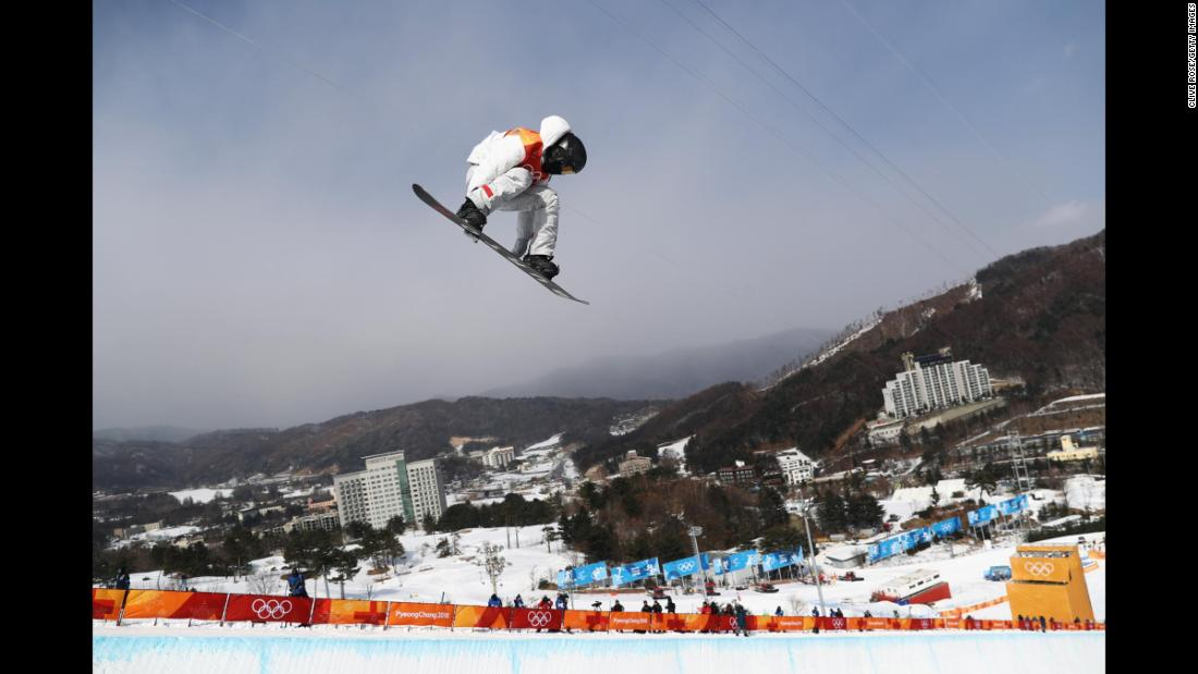 American snowboarder Shaun White soars in halfpipe qualifying. He had the highest score of the day.