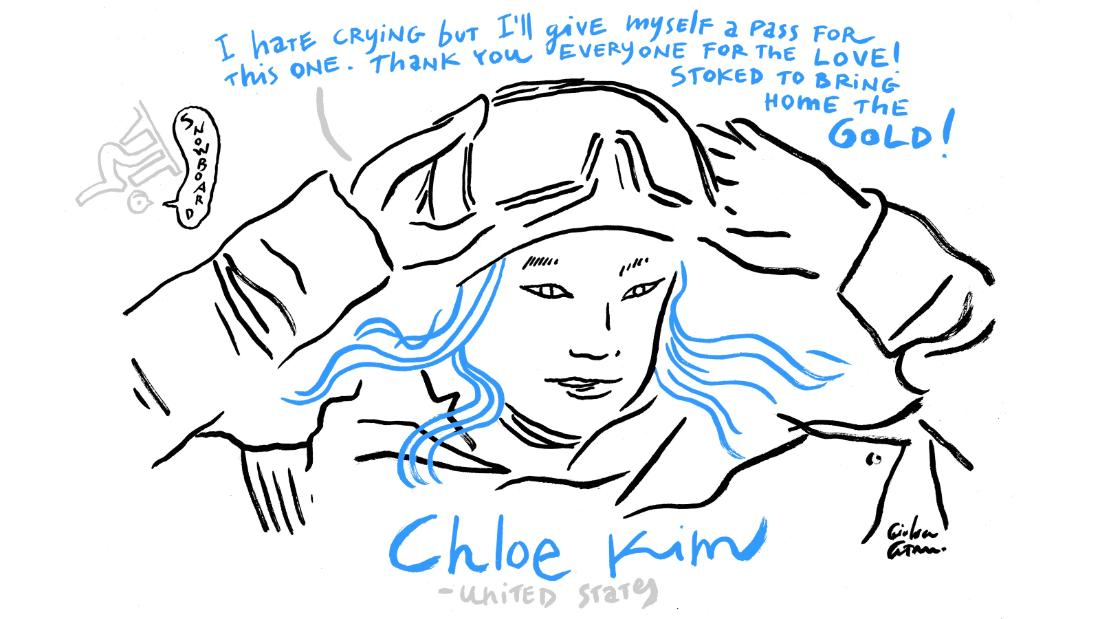 Chloe Kim sketch Winter Olympics