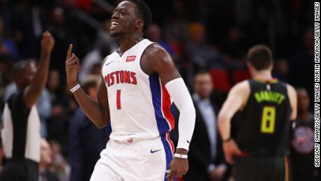 DETROIT, MI - NOVEMBER 10: Reggie Jackson #1 of the Detroit Pistons reacts reacts to a call late in the game next to Luke Babbitt #8 of the Atlanta Hawks at Little Caesars Arena on November 10, 2017 in Detroit, Michigan. Detroit won the game 111-104. NOTE TO USER: User expressly acknowledges and agrees that, by downloading and or using this photograph, User is consenting to the terms and conditions of the Getty Images License Agreement. (Photo by Gregory Shamus/Getty Images)