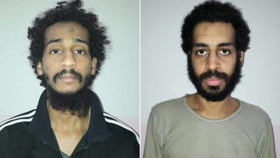 "(COMBO) This combination of pictures created on February 11, 2018 from two handout images provided by the Syrian Democratic Forces (SDF) on February 10, 2018 shows captured British Islamic State (IS) group fighters El Shafee el-Sheikh (L) and Alexanda Kotey (R), posing for mugshots in an undisclosed location. The Syrian Democratic Forces' (SDF) spokesperson Redur Khalil said they had caught Briton Alexanda Amon Kotey in eastern Syria in January as he tried to flee to neighbouring Turkey. Kotey was part of a four-member IS kidnapping cell dubbed ""The Beatles"" that was notorious for videotaping beheadings. A US defence official announced on February 8 his arrest by the SDF, together with that of fellow Briton El Shafee el-Sheikh. / AFP PHOTO / Syrian Democratic Forces / Handout /  == RESTRICTED TO EDITORIAL USE - MANDATORY CREDIT ""AFP PHOTO / HO / SYRIAN DEMOCRATIC FORCES (SDF) - NO MARKETING NO ADVERTISING CAMPAIGNS - DISTRIBUTED AS A SERVICE TO CLIENTS ==  == RESTRICTED TO EDITORIAL USE - MANDATORY CREDIT ""AFP PHOTO / HO / SYRIAN DEMOCRATIC FORCES (SDF) - NO MARKETING NO ADVERTISING CAMPAIGNS - DISTRIBUTED AS A SERVICE TO CLIENTS == / HANDOUT/AFP/Getty Images"