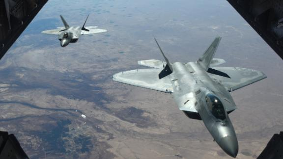 epa06505045 A handout photo made available by the US Department of Defense shows two US Air Force F-22 Raptors flying above Syria in support of Operation Inherent Resolve, 02 February 2018 (issued 08 February 2018). According to the US military on 07 February, an airstrike carried out by US forces has killed more than 100 fighters loyal to Syrian President Bashar al-Assad. An US military official said the airstrikes were an act of self-defense after troops allegedly loyal to the Syrian President attacked the US-backed anti-IS coalition.  EPA/COLTON ELLIOTT / US AIR FORCE HANDOUT  HANDOUT EDITORIAL USE ONLY/NO SALES