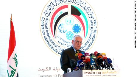 US Secretary of State Rex Tillerson speaks during the Kuwait International Conference for Reconstruction of Iraq, in Kuwait City on February 13, 2018. / AFP PHOTO / YASSER AL-ZAYYAT        (Photo credit should read YASSER AL-ZAYYAT/AFP/Getty Images)
